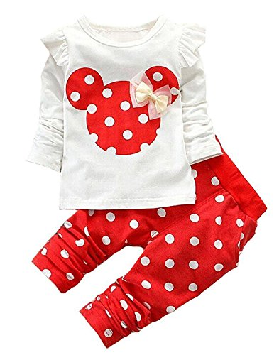 Cute Toddler Baby Girls Clothes Set Long Sleeve T-Shirt and Pants Kids 2pcs Outfits (White+Red, 6M)