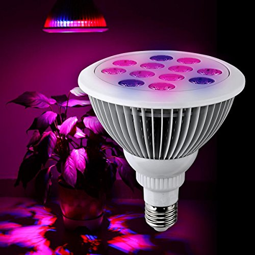 MuizluxLED Plant Grow Light Bulb for Hydroponic Garden Greenhouses - Perfect Grow Lights for Indoor Plants - 12W E27 12 LEDS (3 Blue & 9 Red)