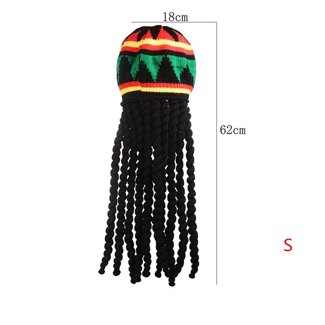 SANOMY Male Knitted Wig Braid Hat,Multicolor Headwear Tassel Hair Accessories