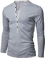 Doublju Mens Long Sleeve Solid Henley Shirts