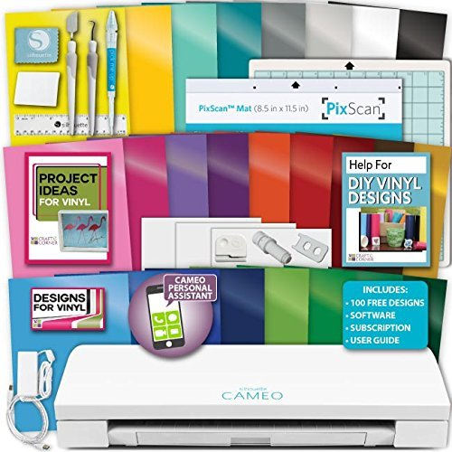 Silhouette Cameo 3 Machine Bundle Vinyl Starter Bundle- 25 Sheets Oracal 651 Permanent Vinyl with...