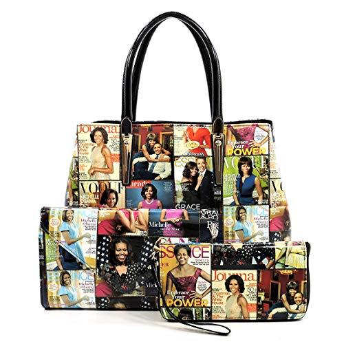 Glossy Magazine Cover Collage Michelle Obama Printed Satchel Bag + Envelope Clutch + Wallet 3pcs set (Multi/Bk)