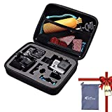 TEKCAM Action Camera Carrying Case Protective Bag Compatible with Gopro Hero 7 6 5/AKASO ek7000 Brave 4 6/APEMAN/Campark/Crosstour 4k/VanTop/Dragon Touch Waterproof Camera Travel Storage (Medium)