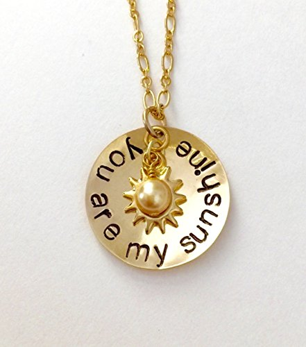 You Are My Sunshine Hand Stamped Necklace Featuring Gold Sun Charm And Swarovski Crystal Pearl