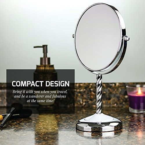 Ovente Round Tabletop Vanity Mirror, 7 Inch, Dual-Sided with 1x/5x magnification, Chrome-Plated Iron, Chrome (MNLBT70CH1X5X) by Ovente (Image #2)
