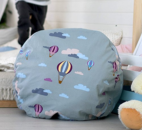 Kenley Stuffed Animal Toy Storage Bag for Kids - Large Basket Canvas Organizer Box for Soft Toys, Baby Laundry or Children Clothes - Doubles as Big Bean Bag Chair - Declutter Your Home & Clean Up Room