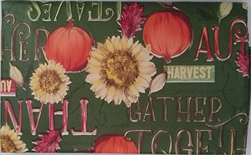 Rustic Autumn Sunflowers and Pumpkins with Autumn Words Vinyl Tablecloth on Green Background (52