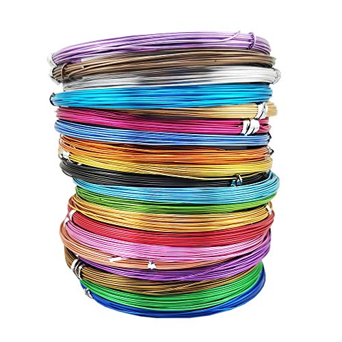 Inspirelle 20 Colors Aluminum Craft Wire Metal Artistic Wire for Jewelry Craft Making, 10M Each Color (20 Guage (0.8mm))