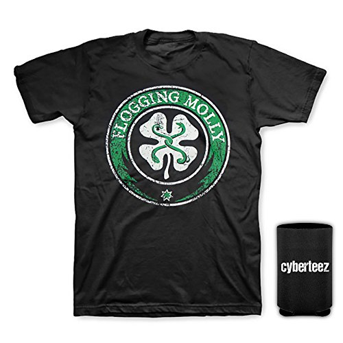 Distressed Logo Mens T-shirt - Flogging Molly Shamrock Circle Distressed Classic Logo T-Shirt + Coolie (XL)