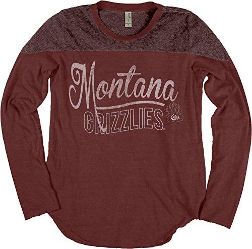 Ncaa Montana Grizzlies Adult Women Ncaa Womens Dyed Long Sleeve Yoke Tee Small Maroon
