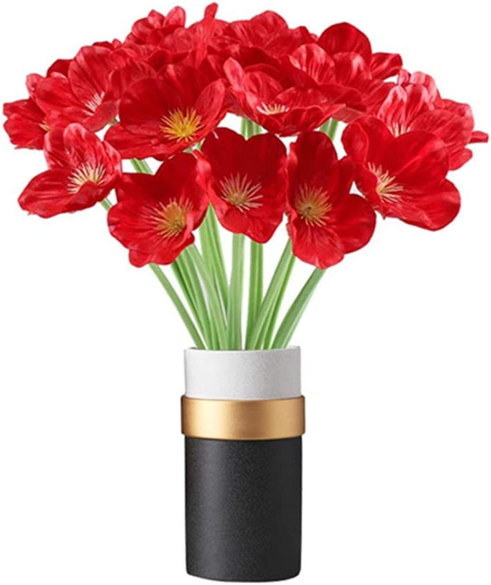 kaimimei Artificial Poppy Flowers Fake Flower Decorative Flower Real Touch 20 pcs Flower for Wedding Party Home Decoration(Red)(vase not Include)
