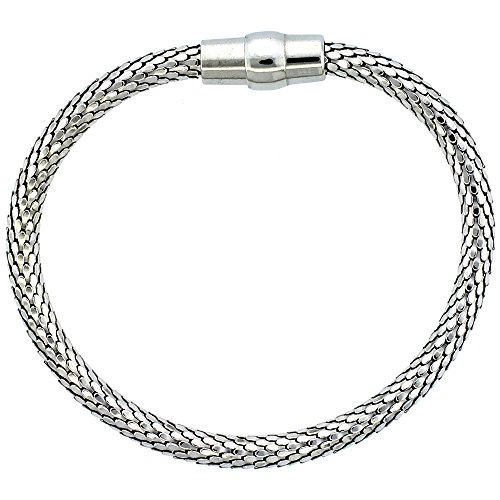 Sterling Silver Flexible Bracelet Magnetic