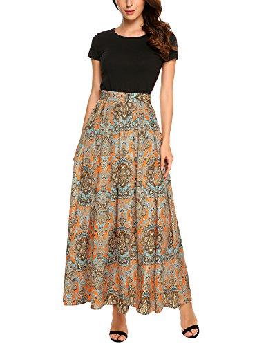 Zeagoo Women African Boho Floral Print High Waist Pleated Maxi Skirt,Orange,XX-Large