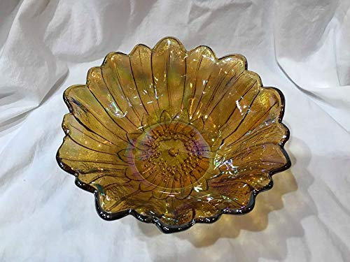 "Indiana Glass Vintage Amber Iridescent Sunflower Glass Bowl (7"" Across)"