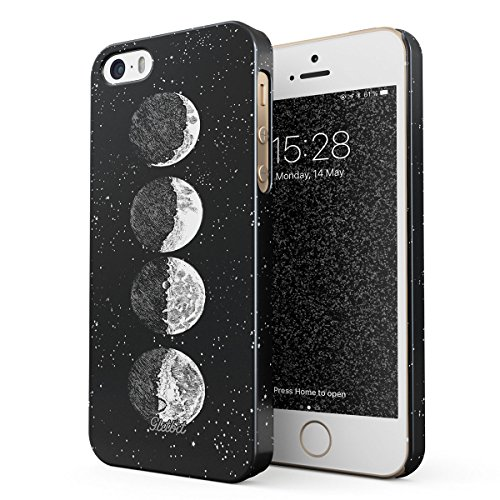 Glitbit Compatible with iPhone 5 / 5s / SE Case Moon Phases Eclipse Stars Cosmos Galaxy Universe Cosmic Lunar Luna Tumblr Thin Design Durable Hard Shell Plastic Protective Case Cover (Eclipse Bumper Case For Apple Iphone 5 5s)