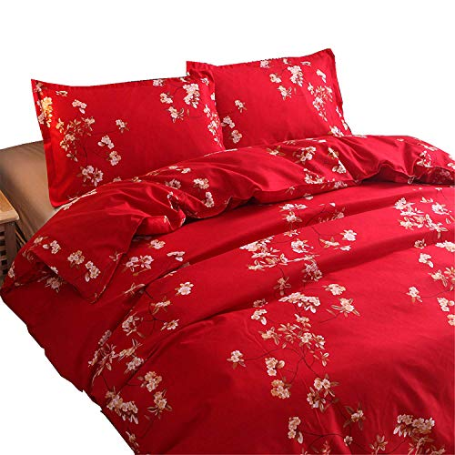Meeting Story Mandala Bohemian Design 3Pcs Duvet Cover Set (Queen, Red)