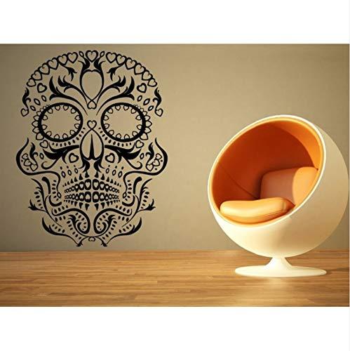 hwhz 88 X 55 cm Creative Skull Vinyl Wall Decal Halloween Sugar Skull Death Mural Art Wall Sticker Bedroom Home Decoration for $<!--$23.85-->