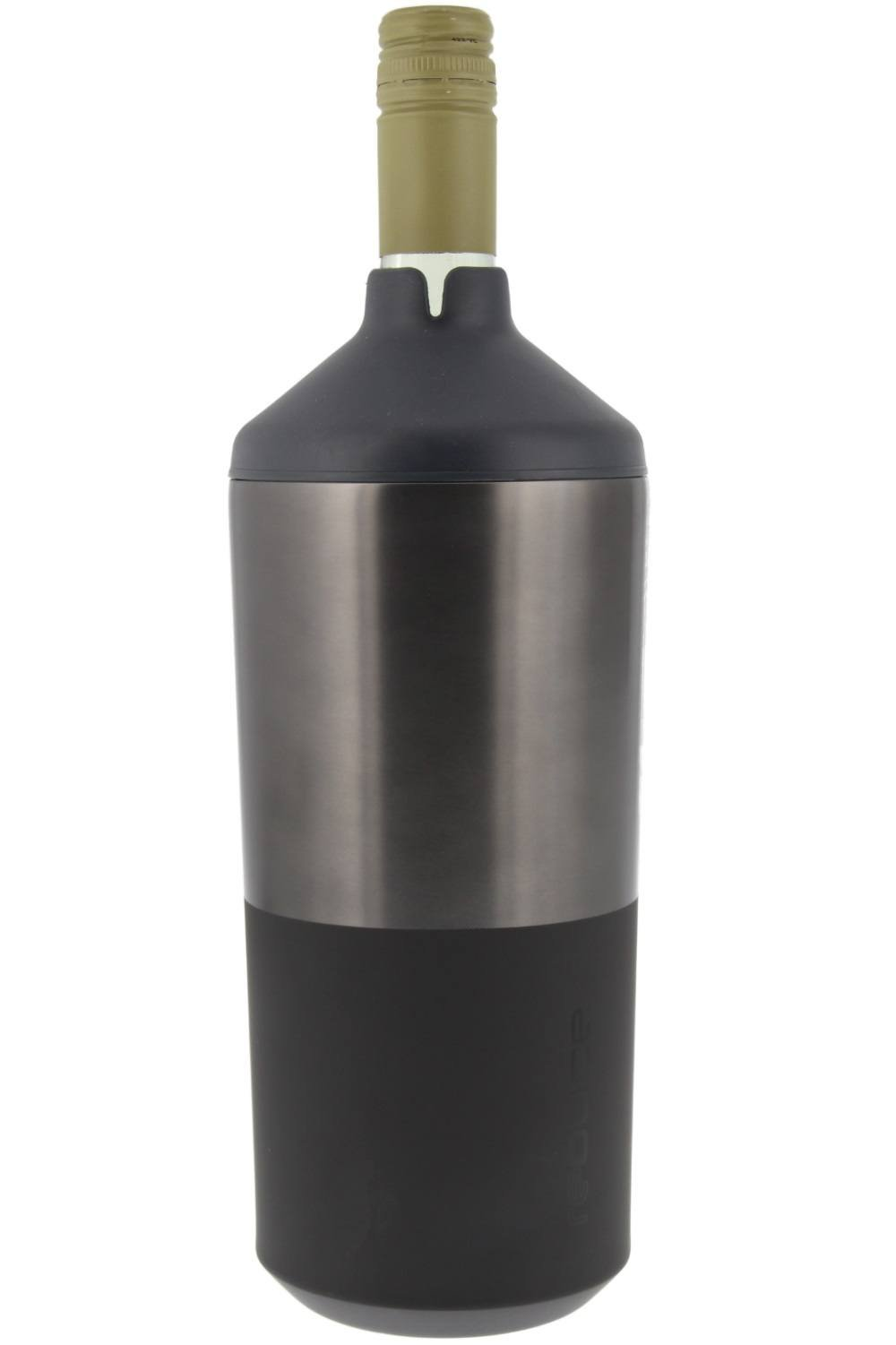 Portable Wine Bottle Cooler by REDUCE - Stainless Steel, Insulated Chiller to Keep Wine at the Perfect Temperature, No Ice Required - Ideal for Outdoor Summer Parties, Fits Most Wine Bottles - Gray