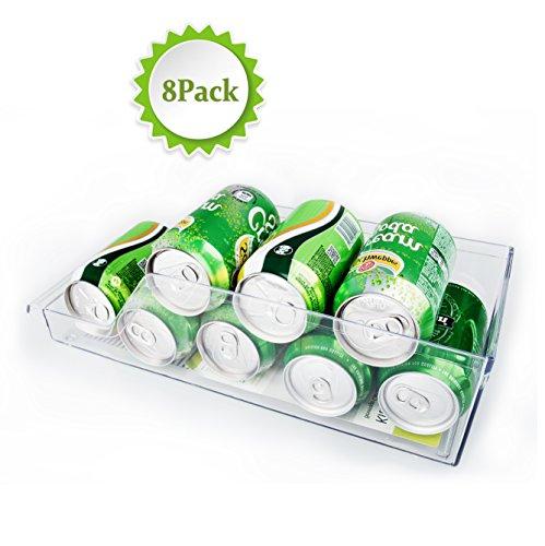 Refrigerator Storage Container, Alanda Fridge Bins and Freezer Organizer Kitchen Organizer Pantry Cabinet for Soda Can Beer Can Soft Drinks - 8 Set