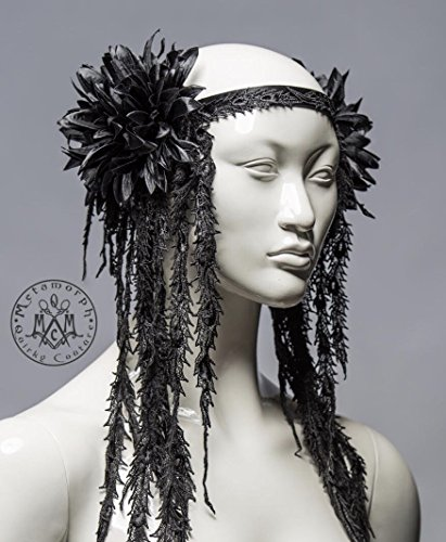 5c774e4b6608 Black tribal headdress / Flower and lace fringe headpiece