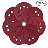 Sanding Discs, 5-Inch 8-Hole Hook and Loop,40/80/120/240/320/600/800 Assorted Grits Sandpaper(70 Pack)