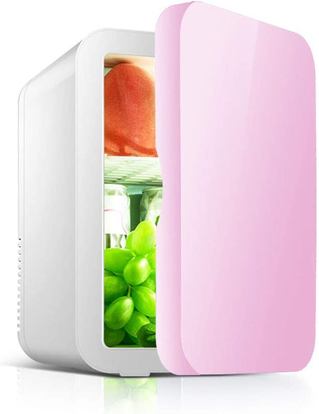 8L Mini Fridge Freezer for Bedrooms, Portable Small Fridge with Cooling And Warming Function, AC+DC Compatibility, Low Energy A+, Available All Year,Pink
