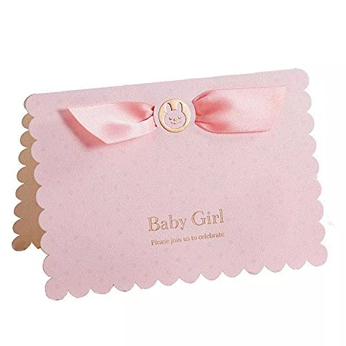 Floratek 30 PCS Baby Shower Invitations Baby Girl Birthday Invite Cards Blank Invitations with Envelop Baby Shower Favors Collections for Guest Baby Shower Decorations and Supplies (Pink-Baby Girl) ()