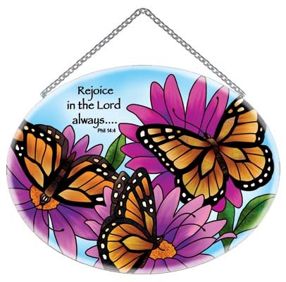 Monarch Butterflies Stained Glass Suncatcher - Phil. 4:4 Scripture