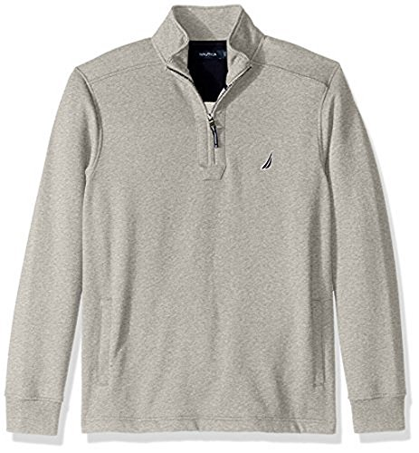 Elite Classic Pullover - Nautica Men's Quarter-Zip Fleece Sweatshirt, Grey Heather, X-Large
