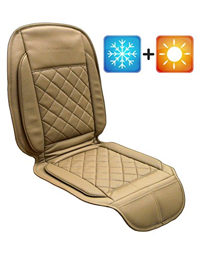 Viotek Heated & Cooled Seat Cushion - Featuring Tru-Comfort Auto Heating & Cooling Climate Control - Beige / Tan