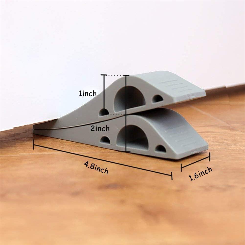 cikeri Door Stop Wedge Rubber Door Stops Stainless Steel Protector Black Wedge Security Door Slam Holder Works On All Floor Types,Safe Durable Sturdy