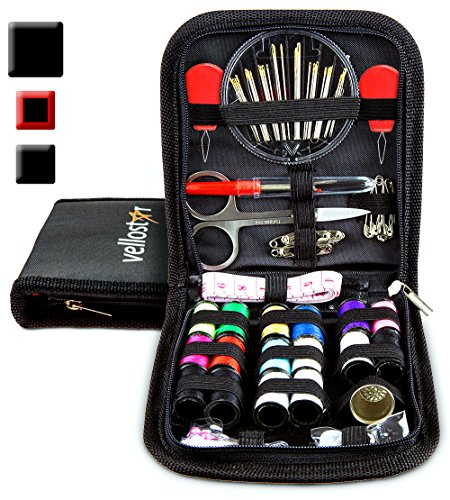 SEWING KIT, Tackle any Fashion Emergency – Clothing Repairs at Home & in the Office. Highly-Rated Mini Sew Kit for Travel Trips. Mending Supplies & Accessories (Black, Pack of 1)