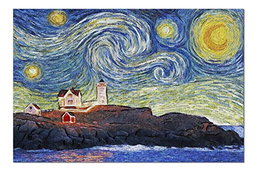 (East Coast Lighthouse - Starry Night (20x30 Premium 1000 Piece Jigsaw Puzzle, Made in USA!))