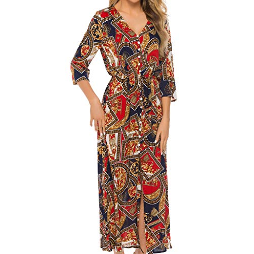 Sunday88 Women Plus Size Dress Ladies Summer O-Neck Short Sleeve Boho Print Long Maxi Dress Casual Party Dress Red]()