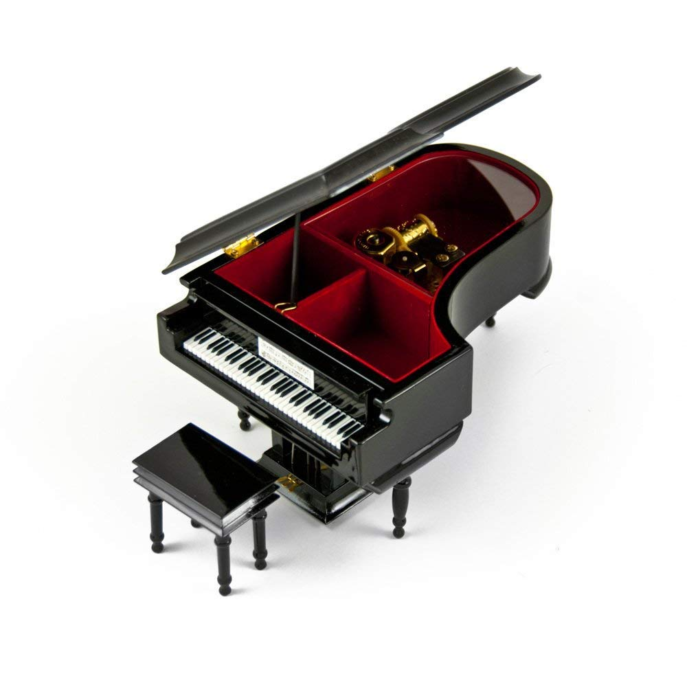 Elegant Wooden Musical Box - 18 Note Hi Gloss Black Miniature Grand Piano with Bench – Music Box for Jewelry with Open Compartment, 454 Song Choice