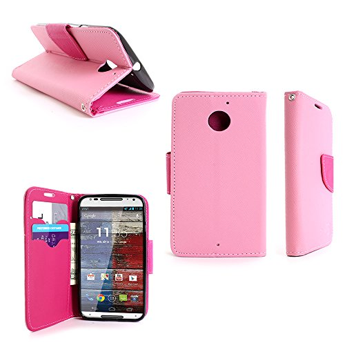 Motorola Moto X (2nd Generation) Wallet Case (Light Pink / Hot Pink) CoverOn Credit Card Holder Carrying Pouch Phone Cover for Motorola Moto X XT1097 (2nd Generation, 2014) - Included Bonus; Clear Screen Protector and Wristlet Strap