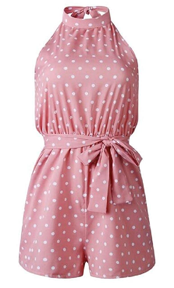 Cromoncent Womens Casual Sleeveless Dot Short Jumpsuits Rompers