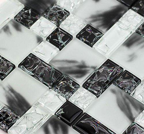Crackle Albescent (GP07) Black White Glass Backsplash Mosaic Tile for Kitchen Bathroom Wall (Sample) ()
