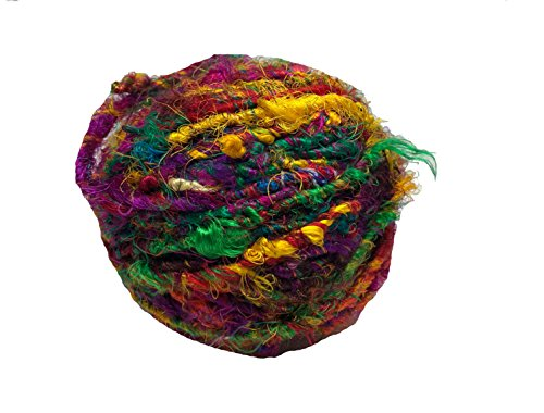KNITSILK Recycled Sari Silk Yarn - Bulky Yarn - Multicolor (100 Grams) | Great for Knitting, Crochet