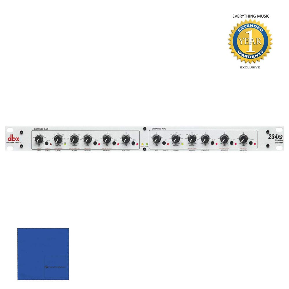 dbx 234xs Stereo 2-/3-Way, Mono 4-Way Crossover with XLR Connectors with Microfiber and 1 Year Everything Music Extended Warranty