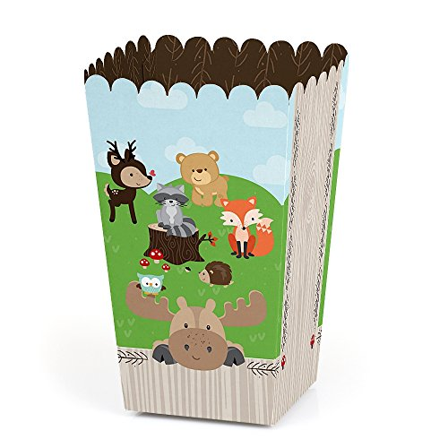 Big Dot of Happiness Woodland Creatures - Baby Shower or Birthday Party Favor Popcorn Treat Boxes - Set of 12