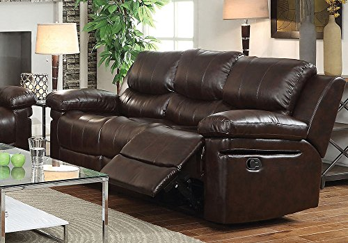 1PerfectChoice Xenos Comfort Living 3-Seater Motion Recliner Sofa Plush Brown Leather Aire