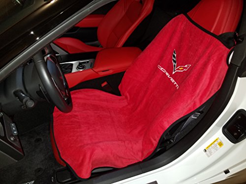 Logo Car Seat Towel (2 - of C7 Corvette Adrenalin Red Seat Armour Seat Covers W/Licensed C7 Logo - Terry Cloth Towels)