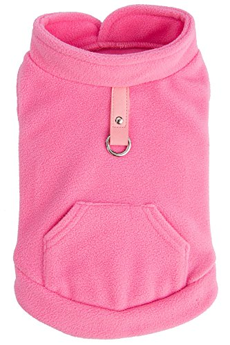 Fleece Harness (EXPAWLORER Fleece Autumn Winter Cold Weather Dog Vest Harness Clothes with Pocket , Light Pink Medium)