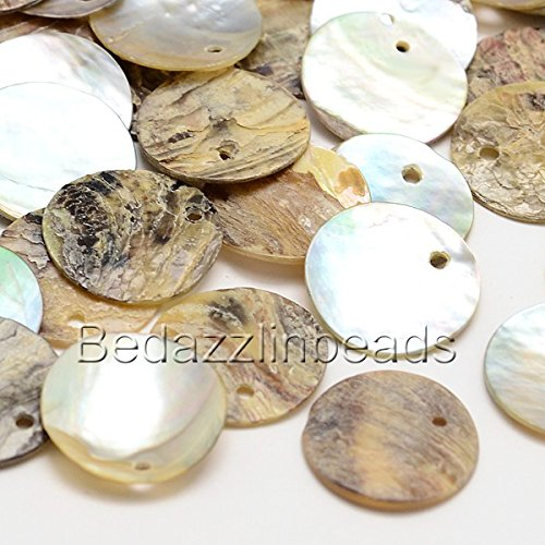 50 Natural 15mm Flat Round Mussel Shell Drop Charm Beads with Iridescent Back ()