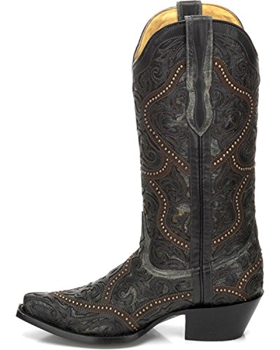 Corral Mujeres Overlay And Studs Cowgirl Bota Snip Toe - G1310 Negro
