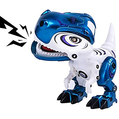 Toy Robots Dinosaur for Boys or Girls –Mini Dinosaur Robots for Kids, Posable Body, Bright LED Toys with Sounds Ages 3 4 5 6 7+