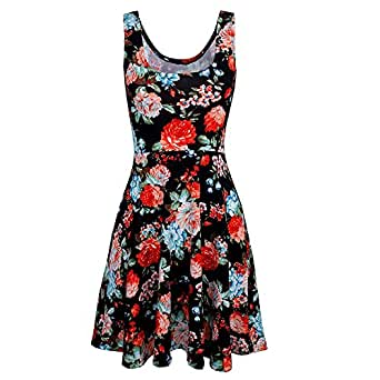 Eiwoda Women's Summer Beach Midi Flowy Tank Dress Sleeveless Floral Print Casual Fit (M/US4-6, Black&Flower)