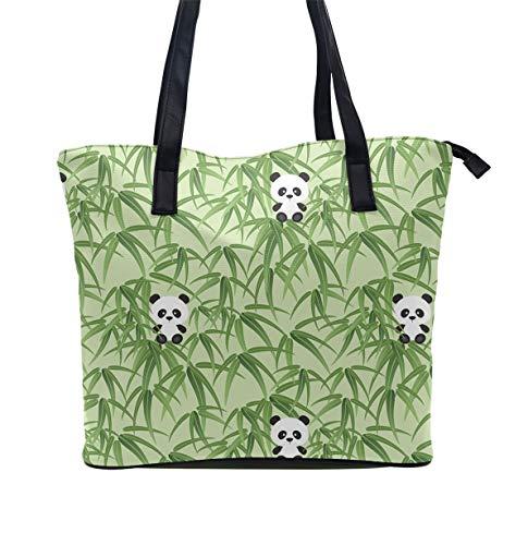 Women Tote Bag PU Leather Handbags Casual Ladies Shoulder Bags for Shopping, Little Panda Bamboo - Classic Bamboo Handbag