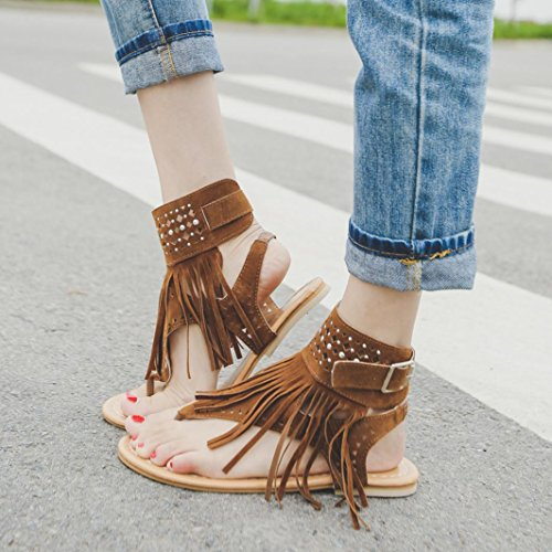 5f9f1ed82 Qisc Womens Suede Tassels Thong Flat Sandals Flip Flops Fringe Shoes for  Summer (US Size